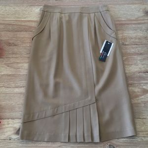 NEW Vintage Beige Wool Pleated Midi Skirt HISEN 10
